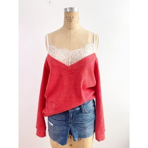 Sweet Claire Ultra Soft Ribbed Lace Sweatshirt